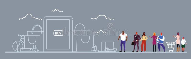 Gente usando los clientes de la raza de la mezcla del concepto del comercio electrónico del mercado en línea de la aplicación móv libre illustration