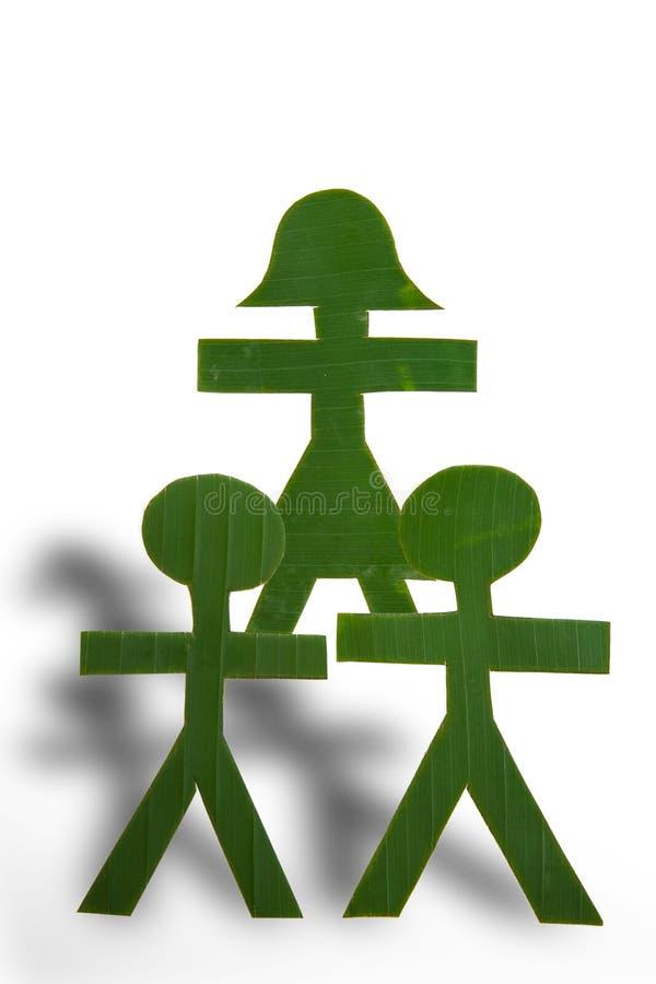 Gente verde en una pirámide foto de archivo