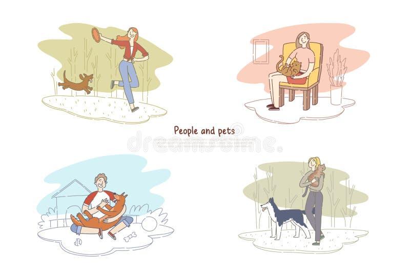 Gente y animales domésticos, hombre que camina con el perro, mujer que juega con la plantilla de la bandera de la amistad del gat stock de ilustración