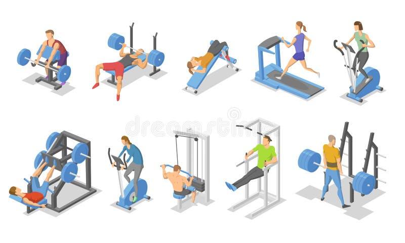 Gente y aparato del entrenamiento en el gimnasio Sistema isométrico de símbolos del equipo de la aptitud Ejemplo plano del vector stock de ilustración