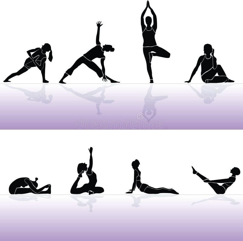 Gente y aptitud del siluette de la yoga ilustración del vector