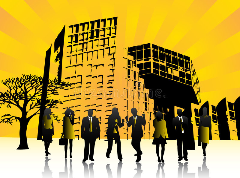 Gente y ciudad libre illustration