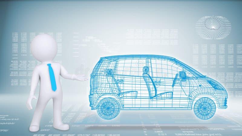 Gente y coche de alta tecnología en un fondo azul libre illustration