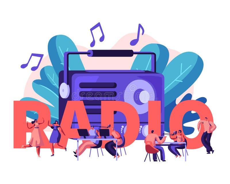 Gente y concepto de radio El varón y los caracteres femeninos escuchan música y las noticias, danza, difusión de radio del anfitr ilustración del vector