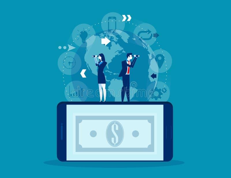 Gente y conocimiento para el logro Ejemplo del vector de dirección del negocio del concepto, mirando y buscando, trabajo en equip stock de ilustración