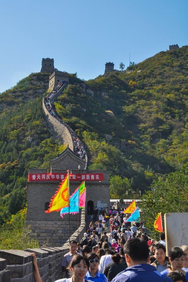Gente y Gran Muralla imagen de archivo