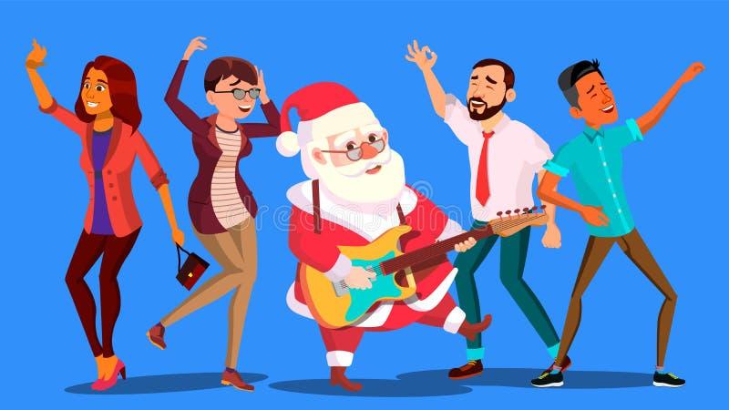 Gente y guitarra de Santa Claus Dancing With Group Of en manos Año Nuevo corporativo Ejemplo del vector de la fiesta de Navidad stock de ilustración