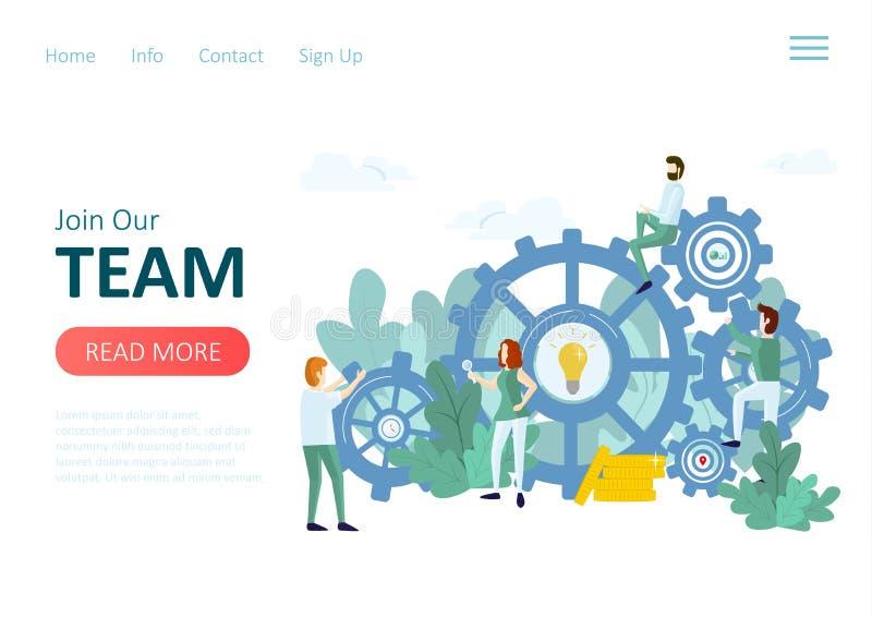 Gente y mecanismo Concepto del trabajo en equipo libre illustration