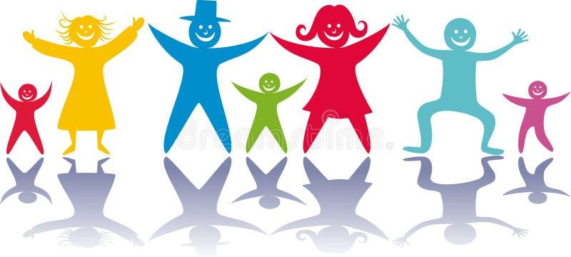 Gente y niños felices. libre illustration
