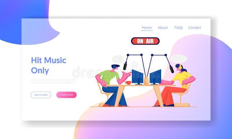 Gente y página de radio del aterrizaje de la página web Los caracteres de DJ de la radio en auriculares hablan a los micrófonos,  ilustración del vector