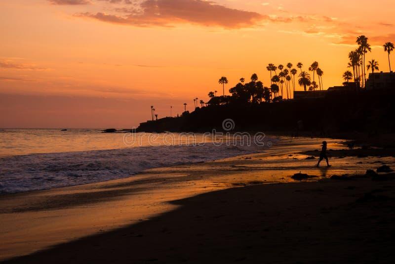 Gente y palmeras silueteadas en la playa en la puesta del sol en California meridional fotografía de archivo