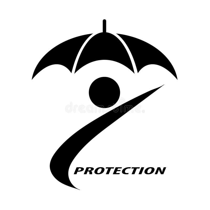 Gente y paraguas que simbolizan la protección del seguro para los individuos stock de ilustración