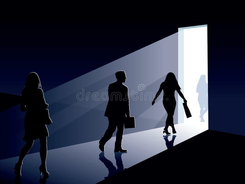 Gente y puerta stock de ilustración