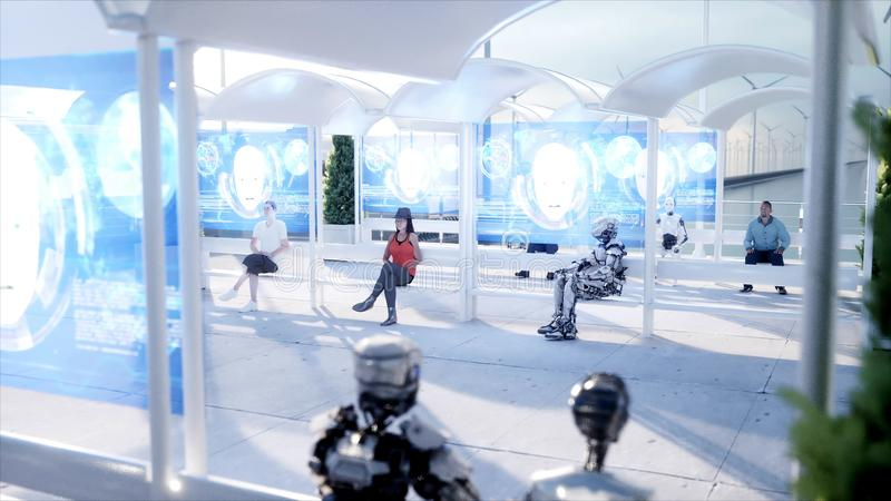 Gente y robots Estación de Sci fi Transporte futurista del monorrail Concepto de futuro representación 3d stock de ilustración