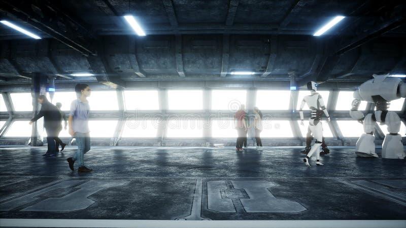 Gente y robots Tonnel de Sci fi Tráfico futurista Concepto de futuro representaci?n 3d libre illustration