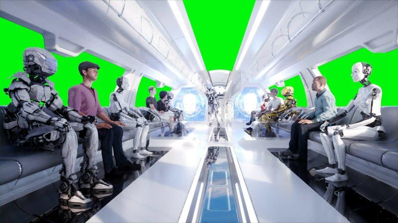 Gente y robots Transporte futurista del monorrail Concepto de futuro Animación realista 4K fotografía de archivo