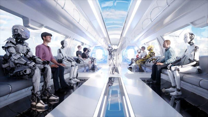Gente y robots Transporte futurista del monorrail Concepto de futuro Animación realista 4K fotos de archivo libres de regalías