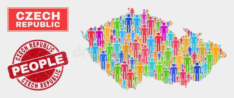 Gente y sello de goma de la población del mapa de la República Checa stock de ilustración