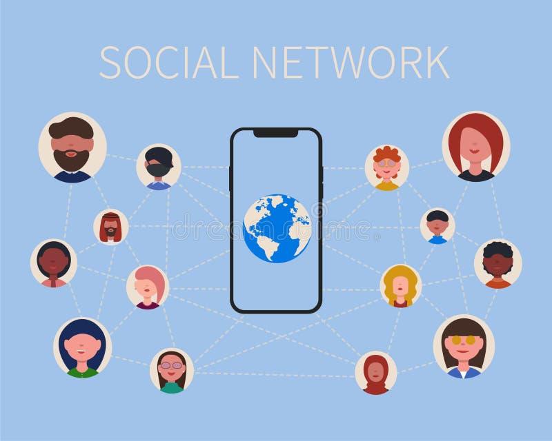 Gente y teléfono sociales de la red libre illustration