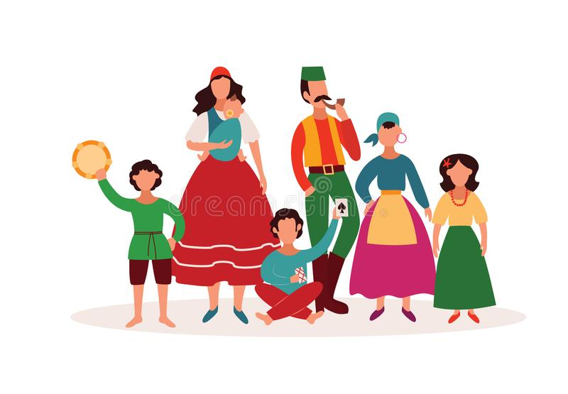 Gente zingaresca - famiglia isolata del personaggio dei cartoni animati in manufatti tradizionali della cultura di romani e dei v royalty illustrazione gratis