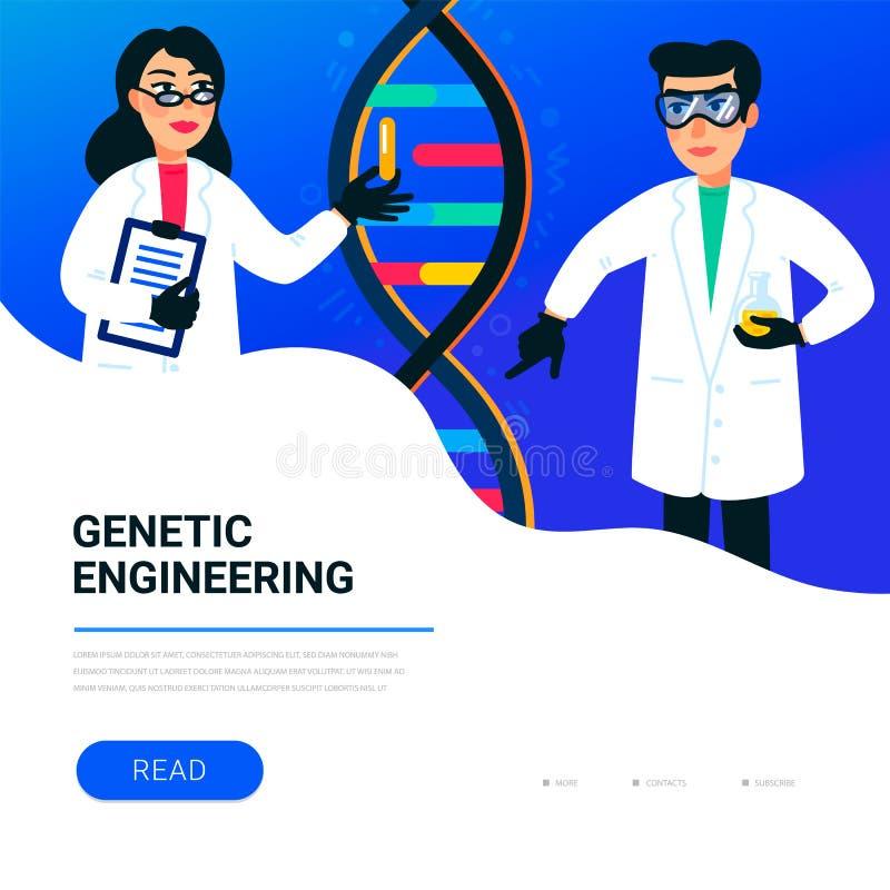 Genteknikbegrepp Forskare som arbetar i nanoteknik- eller biokemilaboratorium Molekylspiral av dna royaltyfri illustrationer