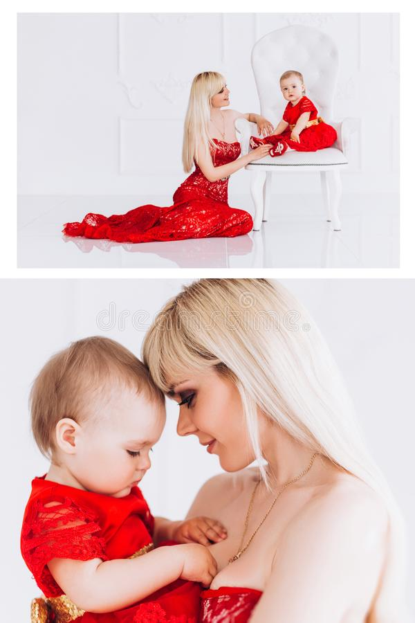 Gentil, famille, bonne photo de m?re et fille dans des robes rouges dans le studio Le jour et les filles de m?re photographie stock