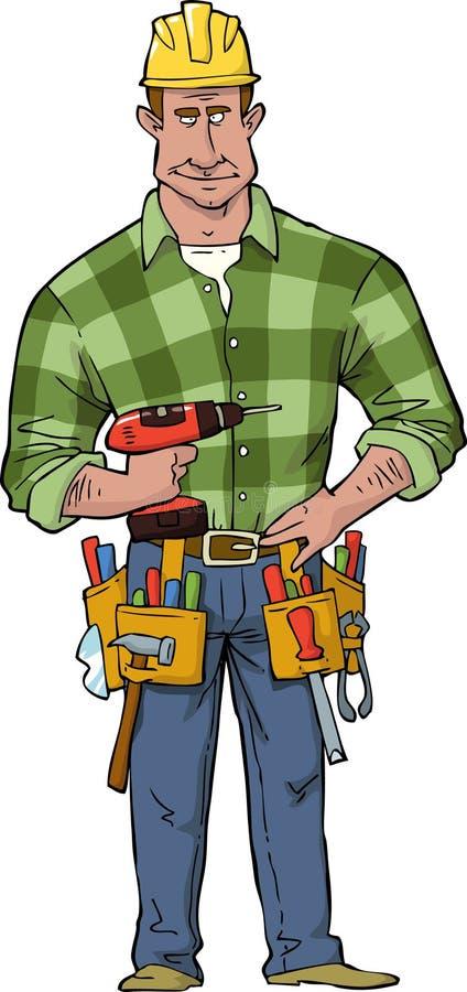 gentil ouvrier d'équipement d'isolement par construction illustration de vecteur