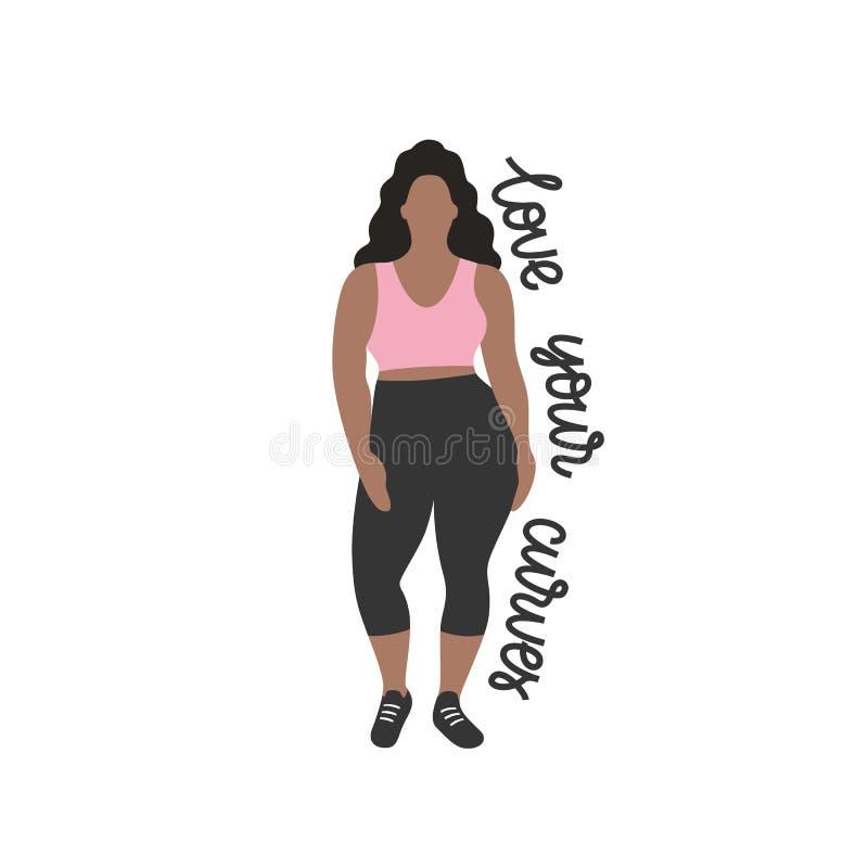 Gentille femme dodue de brune avec le corps sinueux, fille dans des vêtements folâtres d'une mode à la mode, illustration plate d illustration libre de droits