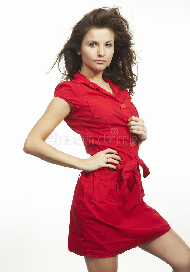 gentille femme rouge images stock