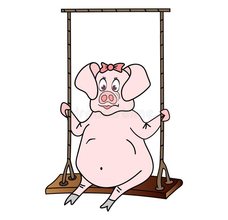 Gentille fille colorée de porc balançant sur la bascule illustration de vecteur