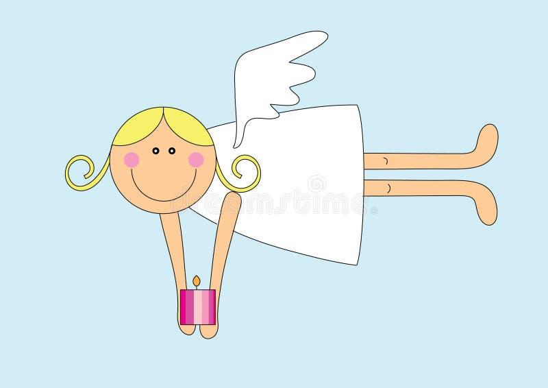 Gentille fille d'ange avec la bougie illustration stock