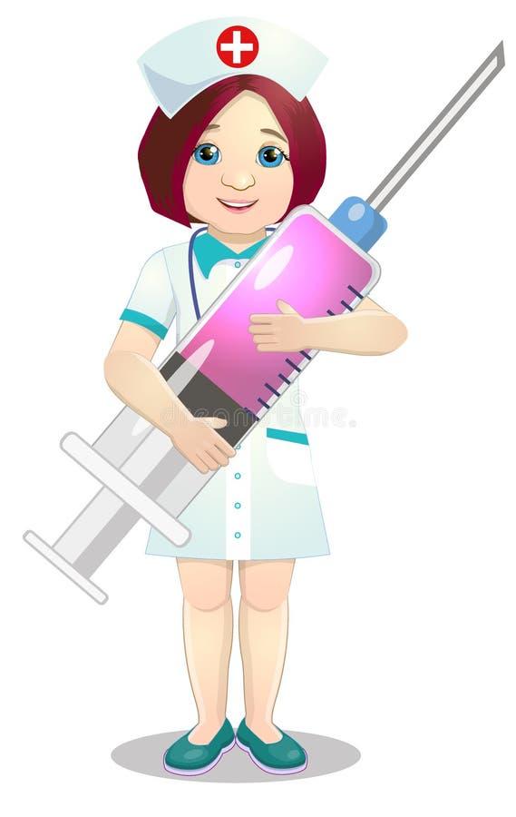 Gentille infirmière avec une seringue illustration libre de droits