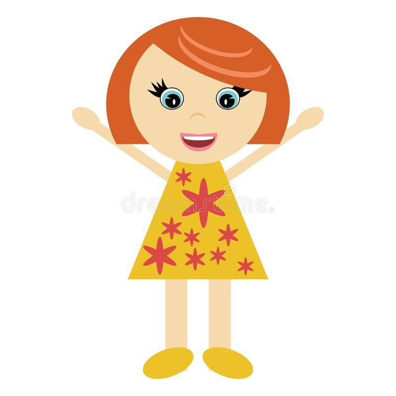 Gentille petite fille joyeuse illustration de vecteur