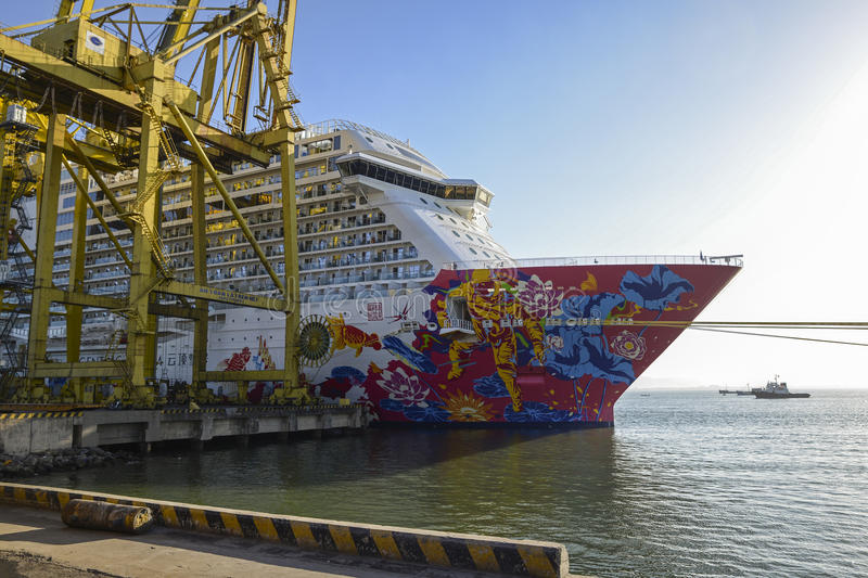 Genting dream cruises. The largest cruises in Asia,Moored at pier stock images