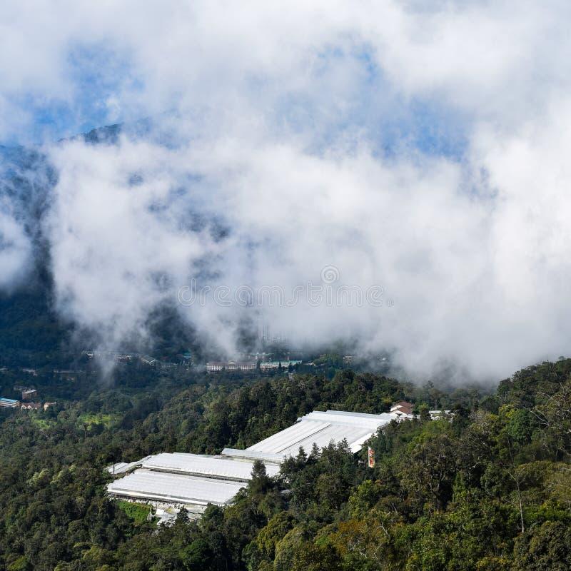 Genting Highlands - популярная туристическая достопримечательность в Куала-Лумпуре, Малайзия Вид на Гентинг-Хайлендс из кабельног стоковое изображение