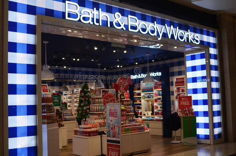Bath & Body Works outlet in Genting Highlands, Malaysia. GENTING HIGHLANDS, MALAYSIA- DEC 03, 2018: Bath & Body Works outlet in Genting Highlands, Malaysia. Bath royalty free stock photos