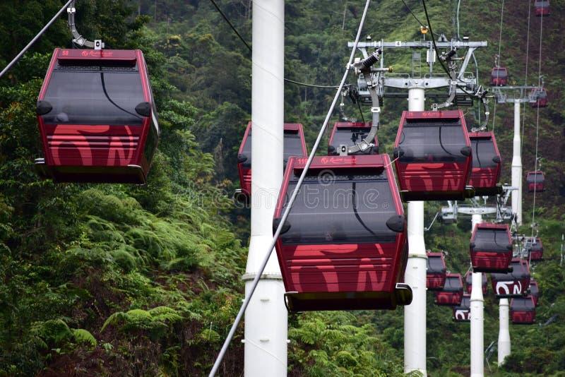 Genting-Hochländer, Malaysia - 2. November 2017: Drahtseilbahn Awana Skyway Genting-Hochländer stockbild