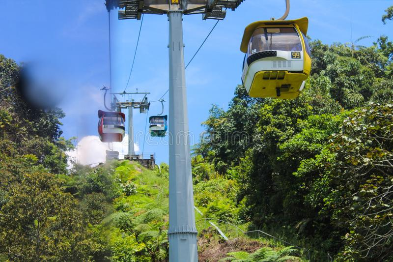 Cable car service to Genting Highlands, Malaysia royalty free stock images