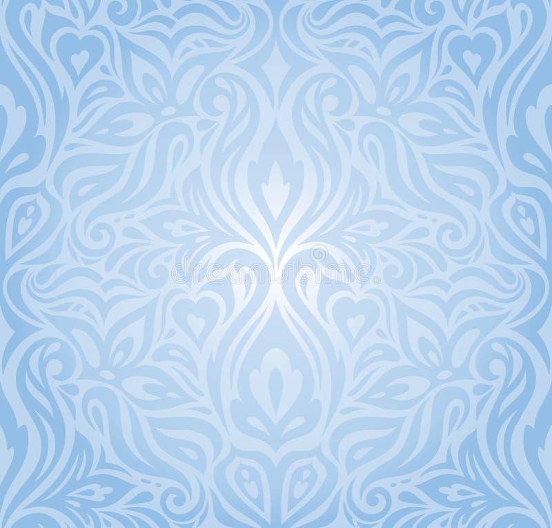 Gentle Blue floral vector seamless decorative background vintage retro wallpaper design royalty free illustration