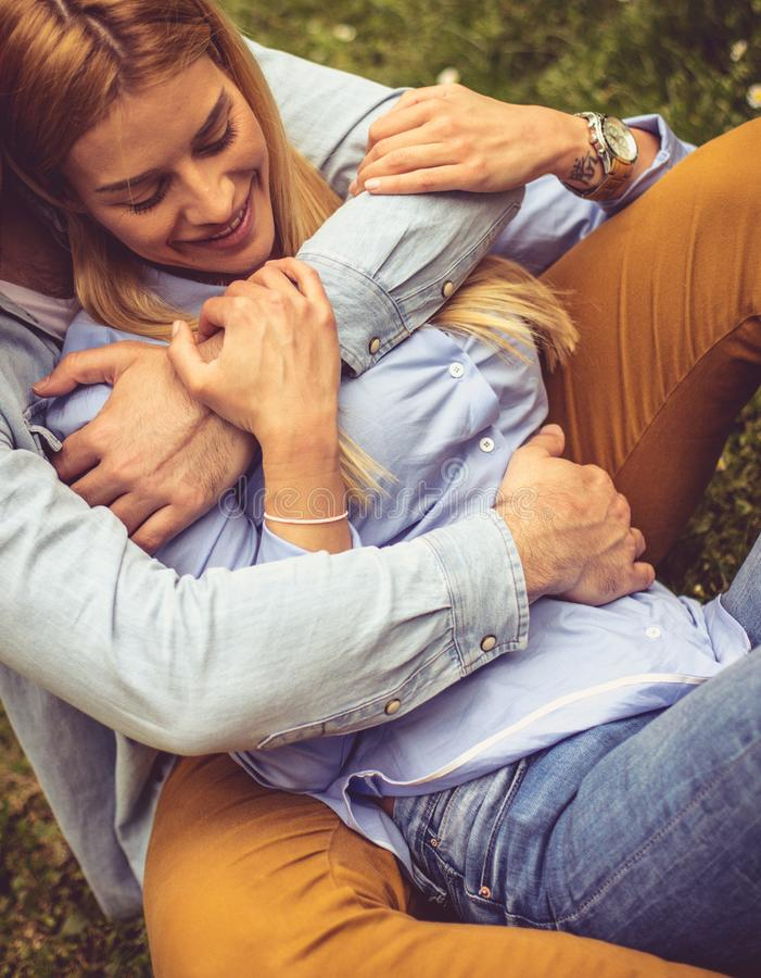 Gentle embrace. From above. stock photography