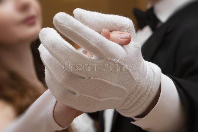The gentle embrace of a couple in love. Close-up of the hand. Romantics, relationships stock photography