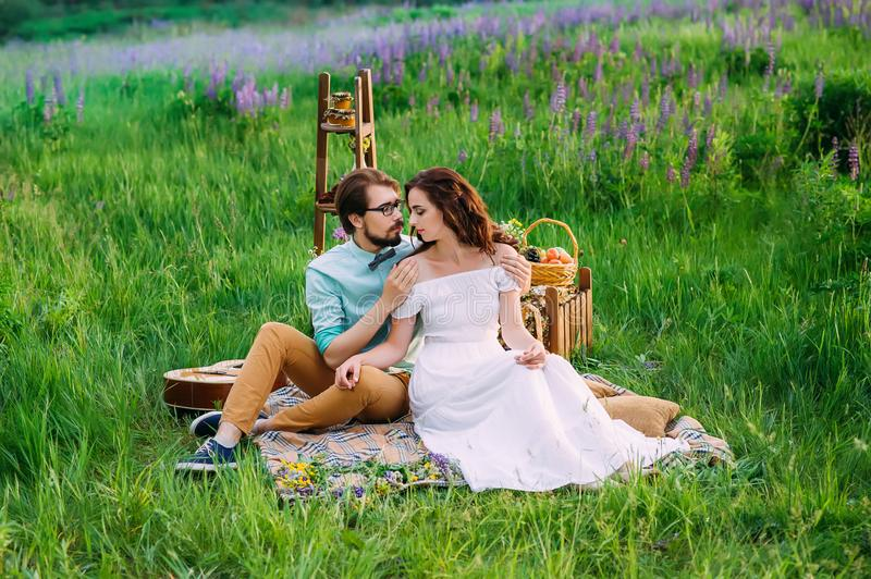 Gentle embrace of an enamored couple having royalty free stock images