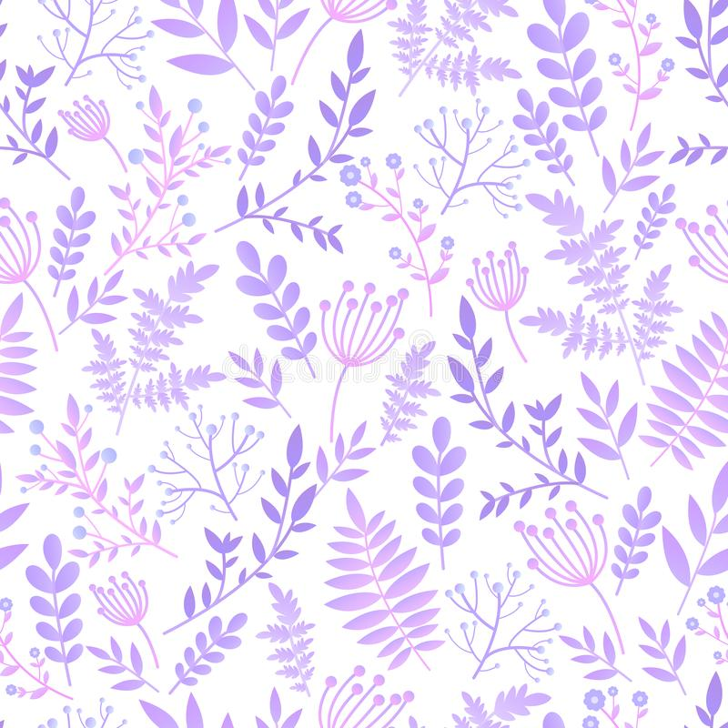 Gentle fantasy romantic seamless pattern, naive flower with leaves, wild flowers, spring, summer time, nature in bloom. Pastel. Lilac colors, isolated white royalty free illustration