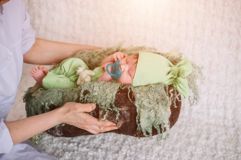 Gentle hands mother. child falls asleep royalty free stock photos