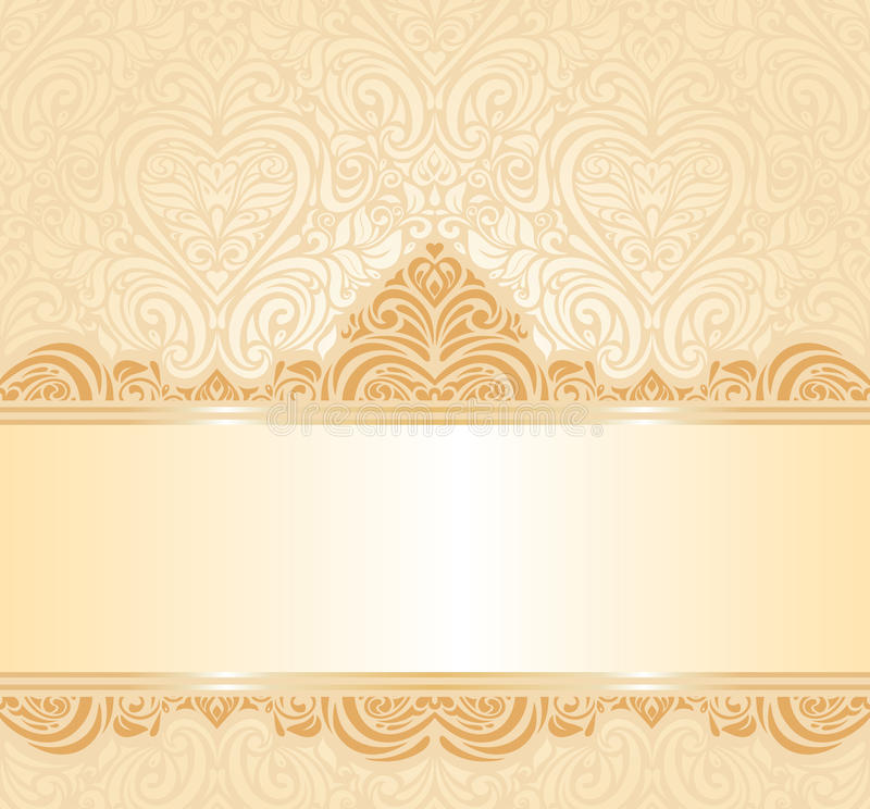 Gentle peach wedding invitation floral background royalty free illustration