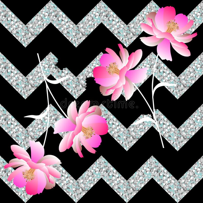 Gentle pink flowers and collapsing silvery zigzag on a black background. Seamless spring pattern in vector. Romantic print stock illustration