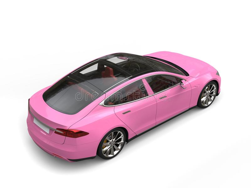 Gentle pink modern electric sports car - top down rear side view royalty free stock photography