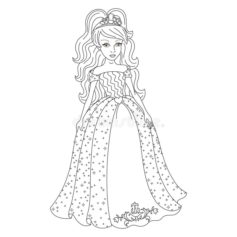 Download Gentle Princess In Shining Dress With Spangles Coloring Book Stock Vector