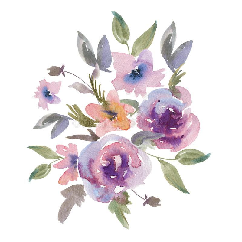 Gentle Purple Watercolor Roses Floral Greeting Card royalty free illustration