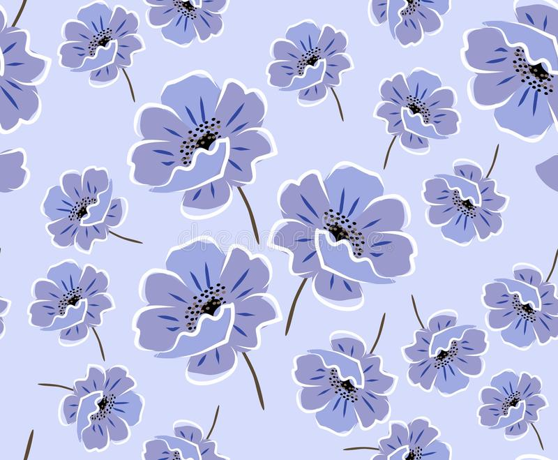 Gentle seamless floral pateern with blue anemones on light blue background. Vector spring design royalty free illustration